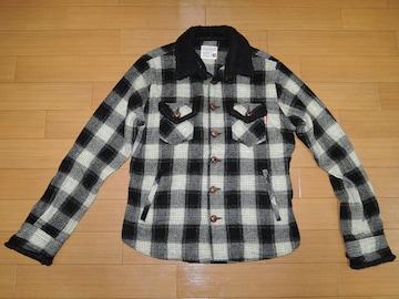 マーブルズMARBLESチェックネルシャツジャケットM黒白ボアTMT
