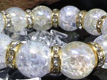 14ミリ§アクアオーラクラック金ロンデル数珠