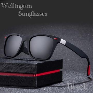 サングラス ミラー ウェリントン型 ミラーレンズ UV400 黒
