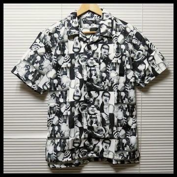 ガールズフォト総柄オープンカラーシャツ/BLK/M 開襟 半袖