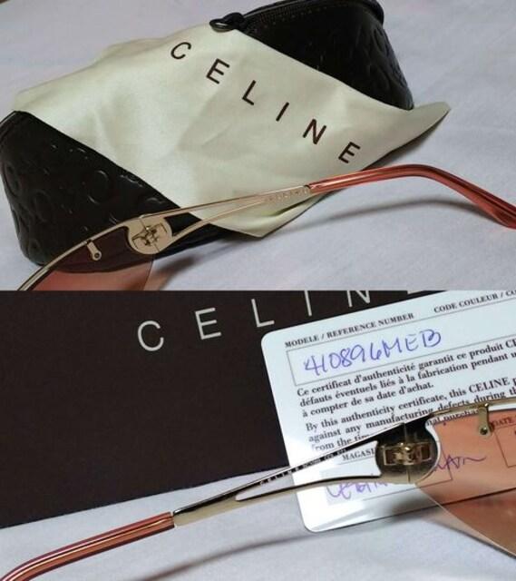 正規美レア セリーヌ マカダムロゴ メタルフレームサングラス ピンクゴールド系 付属完備 < ブランドの