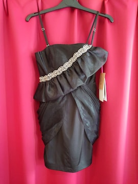 J16429 新品 S ミニドレス Jewels ブラック オーガンジー重ね
