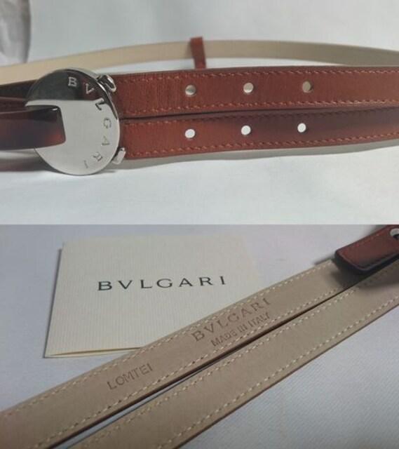 正規美 BVLGARIブルガリ オーバルロゴバックル2連ベルト茶×銀 71.5~75.5�p < ブランドの