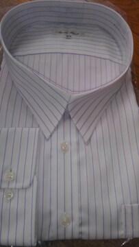 8Lサイズ!形態安定!高貴紳士的!長袖!淡いパープル色合いストライプ!ワイシャツ