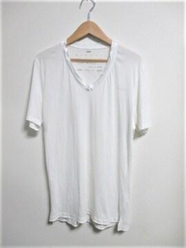 ☆DIESEL ディーゼル Vネック サテン地 ワンポイント Tシャツ 半袖/メンズ/M