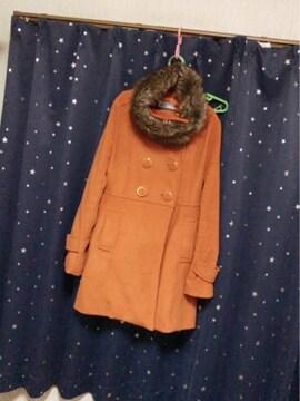 オレンジにファー取り外し自由オシャレなドーリーあったかコート