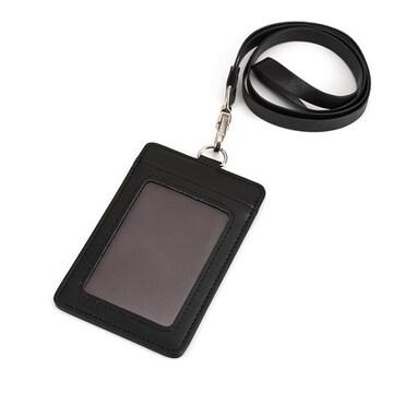 ID カードホルダー 名札 パスケース (縦型)ブラック