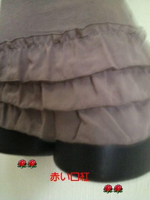 SS〜Sサイズ*細身size裾シホン3段フリル・フレンチ袖Tシャツモーヴブラウン < 女性ファッションの