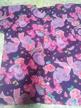 ☆新品紫×バラリボンハートレースラメ入シンデレラ柄ダボシャツ150