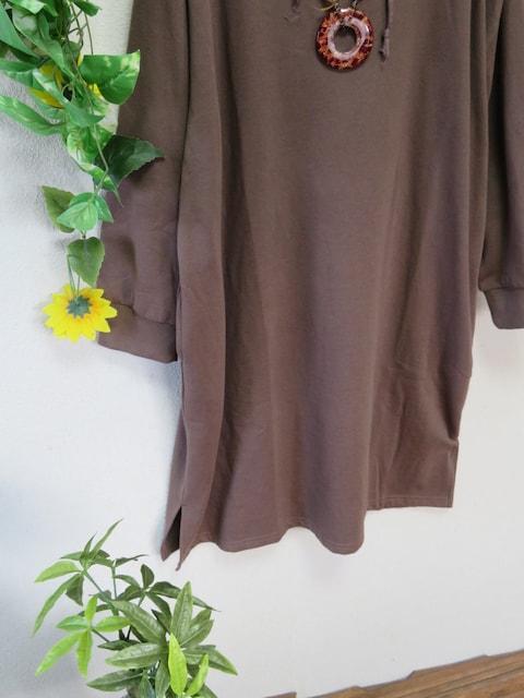新作◆大きいサイズ3Lブラウン◆フード&ポケット付◆ロングチュニック