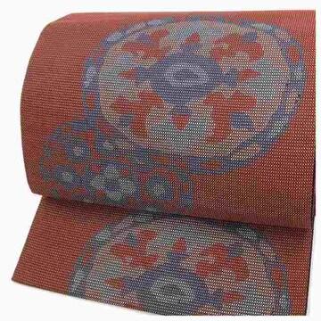 美品 極上 特選 八寸名古屋帯 エンジ 丸紋 太織 名古屋帯 正絹