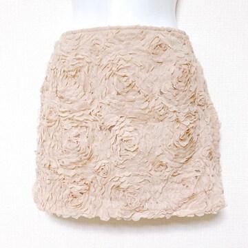 flowerroseパピヨネモカベージュローズフラワーミニスカート花柄
