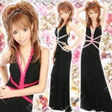 キャバ.お水.ゴージャス.Sexy刺繍レースロングドレス濃ピンク