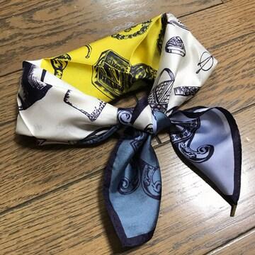 即完売新品ロペマドモアゼルアイボリー黄ネイビーシルクスカーフ