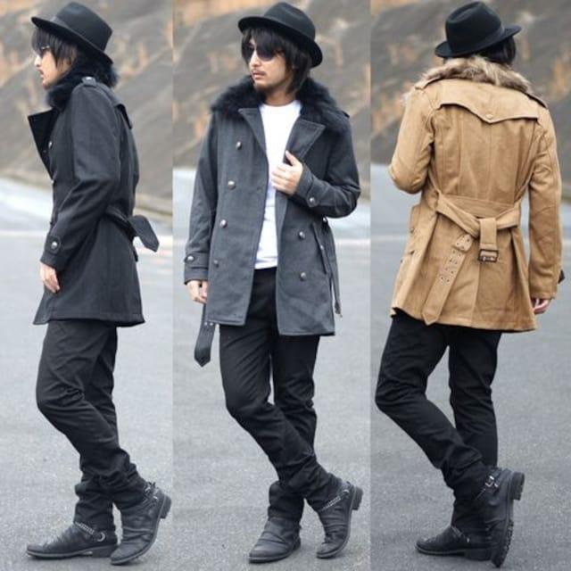 リアルファーメルトンウールトレンチコート33a3012新品キャメルL < 男性ファッションの