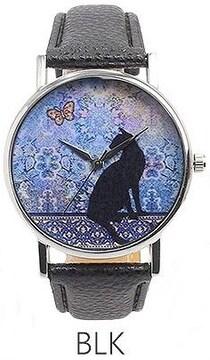 ★黒猫と蝶と水彩アート幻想レディース腕時計T019Bk