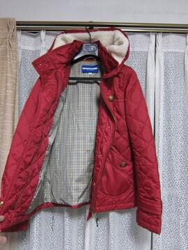 バーバリーブルーレーベル キルティングジャケットコート赤