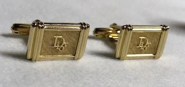 正規良レア ディオール Diorロゴヴィンテージカフス金 ストライプカフリンクス メッシュボタン
