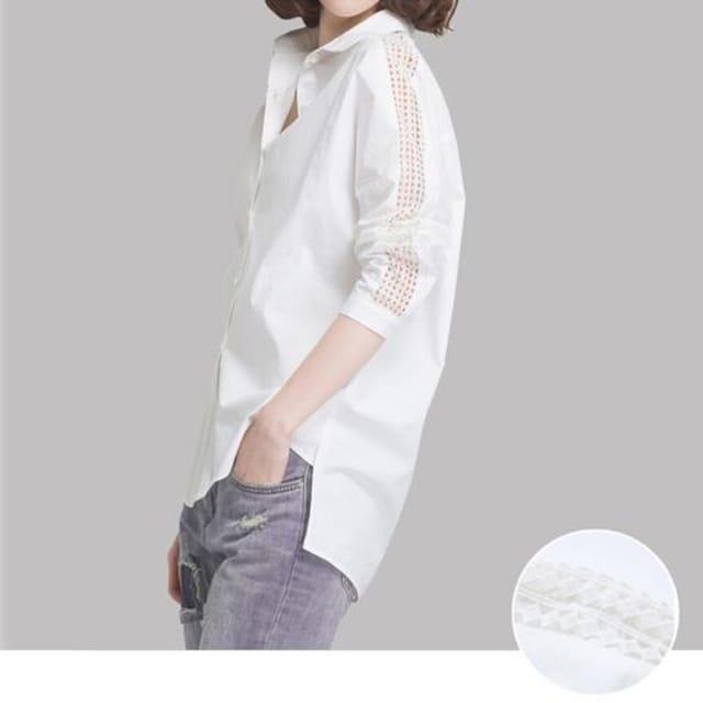 シンプル レディース シャツ ブラウス 7分袖 肩レースデザイン < 女性ファッションの