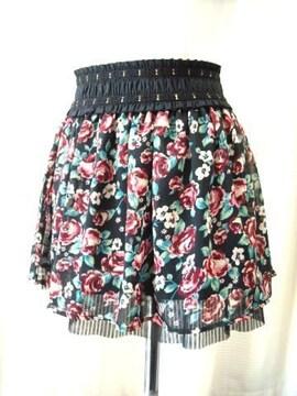 【SPRAY】未使用品シフォンプリント黒ミニスカート