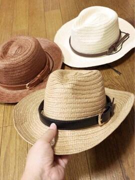 子供用帽子の色ベルトが選べるヒモ付きウエスタン麦わら帽子