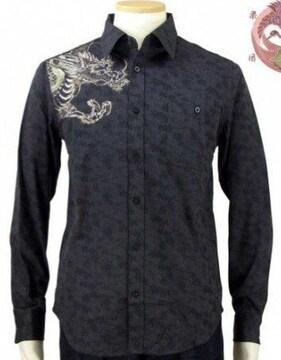 売り切りセール/花旅楽団/刺繍/龍/ジャガード織りシャツ/黒/sls-603