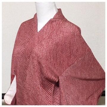 美品 極上 総絞り 羽織 高級呉服 赤 身丈78 裄65 正絹 中古品
