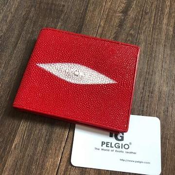 PELGIO 赤がお洒落な スティングレイ(エイ革)財布