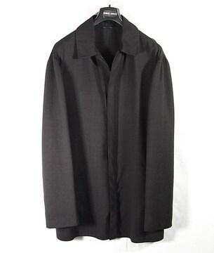 size50☆美品☆アルマーニ黒ラベル ウール製比翼コート 春秋向き