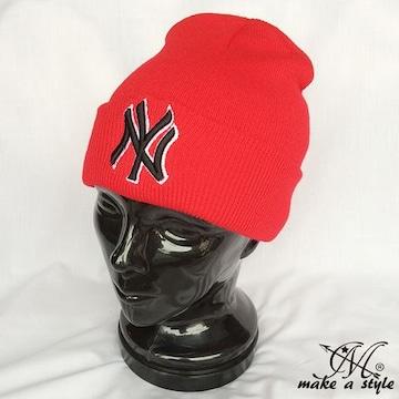 NYヤンキース ニューヨーク ニットキャップ レッド MLB B系 757