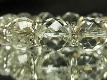 マイナスエネルギーを跳ね返す 64面ダイヤカット水晶ブレスレット 16ミリ数珠