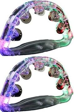 タンバリン 光るLED 2個セット 大 (透明)