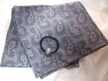 新品ハンカチ髪飾りシルバーゴムセット日本製チーフ綿