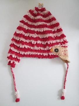 美品即決/Natural Boo/小鳥刺繍耳当てニット帽子/赤×ピンク/L