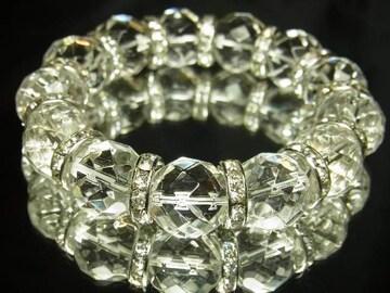 64面ダイヤカット水晶クリスタル14mm数珠ブレスレット