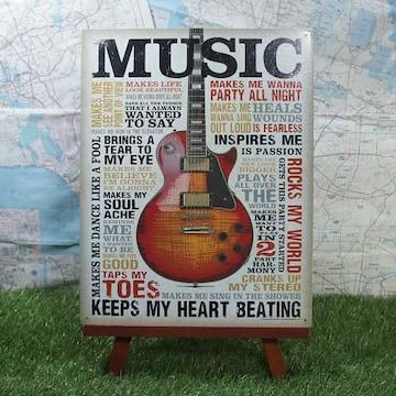 新品【ブリキ看板】Music/ミュージック エレキギター