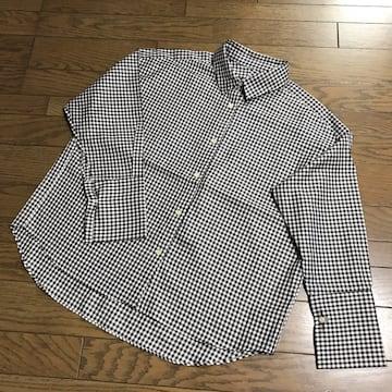 新品ガリャルダガランテ襟抜きオーバーサイズ白黒チェックシャツ