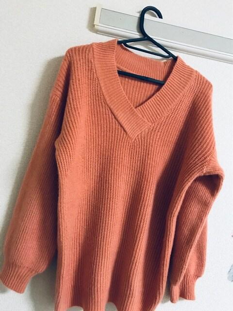 ★新品★厚手ふわ★ゆったりVプルオーバーニットオレンジ  < 女性ファッションの