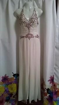 (ム)Luxe Style・高級 ビジュー白ロングドレス