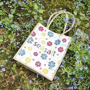 イギリスエコバッグseasaltシーソルト花柄ジュートショッパー