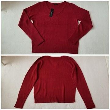 えんじ赤色カシミヤタッチ暖か柔らかVネック長袖ニットセーター