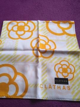 レア 新品 CLATHAS  クレイサス 大判 ハンカチ カメリア オレンジ