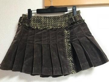★FROLIC ブラウン系×ウール コーデュロイプリーツスカート  M★