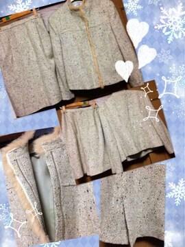 新品☆11号サイズ 高級ツィードジャケットスーツ☆ベージュ