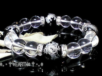 天然石★12ミリ高級銀彫四神獣黒瑪瑙&10ミリ天然水晶クリスタル