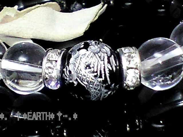 天然石★12ミリ高級銀彫四神獣黒瑪瑙&10ミリ天然水晶クリスタル < 女性アクセサリー/時計の