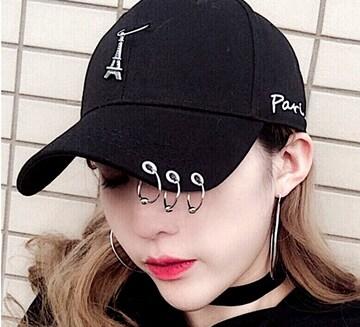新品[7973]ヒップホップ、V系、パンク◎黒リング付き帽子/キャップ