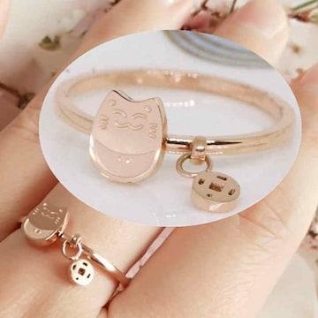 リング 18K RGP ゴールド 猫 ちゃん 指輪 gu1299e