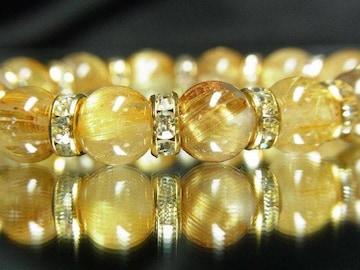 大人気天然石ブレスレット!!タイチンルチル10ミリ数珠!!金運アップ