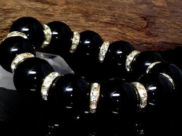 天然オニキス18ミリ金ロンデル黒瑪瑙数珠